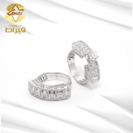 Women's 18k White Gold Twins Ring with Diamonds