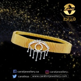 Women's Stainless Steel  Bracelet with 18K Gold and Diamonds