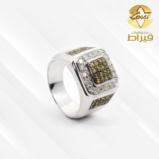 Men's Rhodium Plated Silver 925 Ring with Diamond