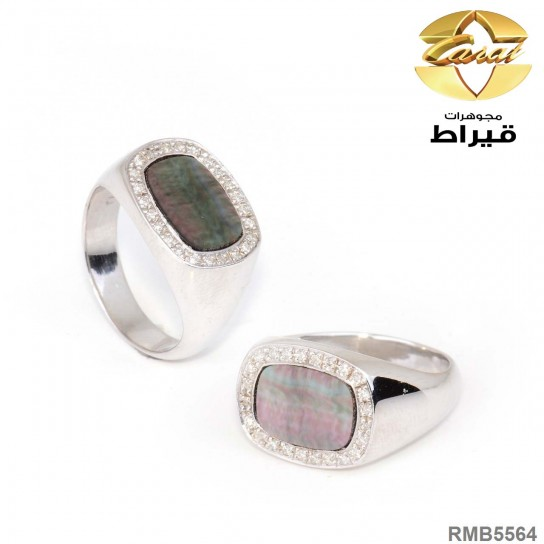 Men's Rhodium Plated Silver 925 Ring with Diamond and Sadaf