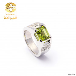 Men's Rhodium Plated Silver 925 Ring with Diamond and Peridot