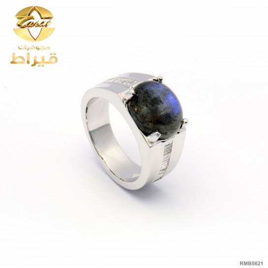 Men's Rhodium Plated Silver 925 Ring with Diamond and Labodorite