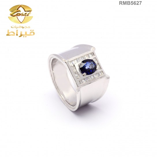 Men's Rhodium Plated Silver 925 Ring with Diamond and Sapphire