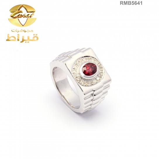 Men's Rhodium Plated Silver 925 Ring with Diamond and Ruby
