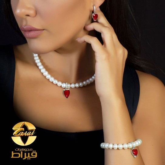 Women's Silver 925  Set with Cultured Pearl and Synthetic Ruby Stone