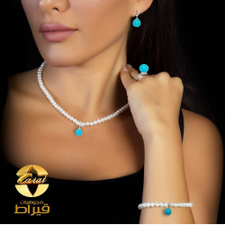Women's Silver 925  Set with Cultured Pearl and Synthetic Fair ooze