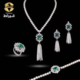 Women's Silver 925 Full Set with Cultured Pearl and Synthetic Emerald Stone