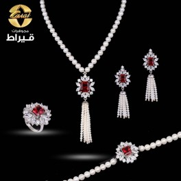 Women's Silver 925 Full Set with Cultured Pearl and Synthetic Ruby Stone
