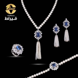 Women's Silver 925 Full Set with Cultured Pearl and Synthetic Sapphire Stone