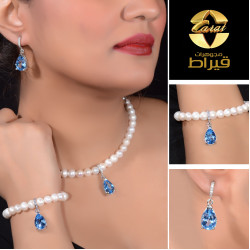 Women's Silver 925  Set with Cultured Pearl and Synthetic Topaz Stone
