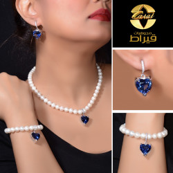 Women's Silver 925  Set with Cultured Pearl and Synthetic Sapphire Stone