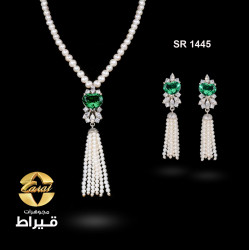 Women's Silver 925  Set with Cultured Pearl and Synthetic Emerald Stone