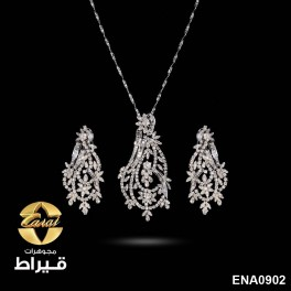 Women's 18K White Gold Pendant and Earring with Diamonds